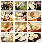 Auberginenpiccata auf Wintergemüse mit Schnittlauchöl zubereiten