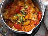 Hungarian tofu goulash with peppers, potatoes and tomatoes
