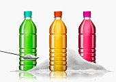 Row of brightly colored soft drink bottles and pile of sugar