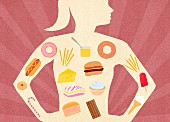 Variety of unhealthy food inside of woman s body