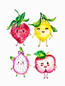 Cute anthropomorphic fruit