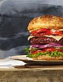 Großer Hamburger mit vielen Schichten