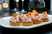 Canapes with shrimp and bleak roe