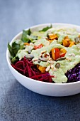 Mixed vegetable salad with herb dressing
