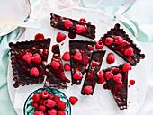 Dark chocolate and raspberry tart