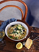 Risotto with spinach, lemon and Parmesan