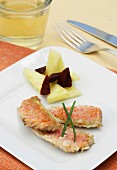 Red mullet with a pineapple and beetroot salad