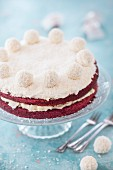 Red velvet cake with coconut chocolates