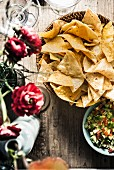 Bowl of tortilla chips and pico de gallo
