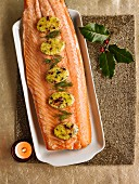 Lightly Smoked Salmon With Orange And Cranberry Oval Butters