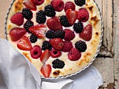 Quark pudding with fresh berries