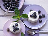 Buttermilk cream with elderberry blossom syrup and blueberries