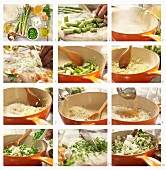 How to prepare risotto with peas, green asparagus and goat's cheese
