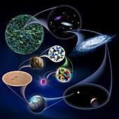 Universe to quark, orders of magnitude