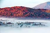 Valley mist over Lake Windermere, UK