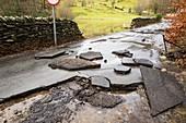 Flood damaged road, Ambleside, UK