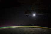 Moonrise over the Earth, ISS image