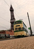 Tram with Blackpool Tower, UK