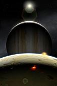 Artwork of Volcanic Io and Jupiter
