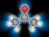 Acetone organic compound molecule
