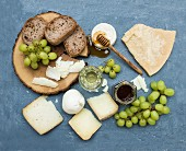 Cheese appetizer selection or wine snack set
