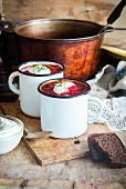 Borschtsch (traditionelle Rote-Bete-Suppe aus Russland und Ukraine)