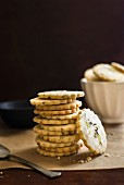 A stack of lavender and lemon shortbread cookies