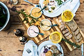 Mezze and wine on a wooden table