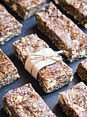Homemade healthy protein granola bars with cashew nuts and cashew nut butter