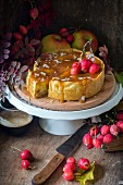 Apple caramel ricotta cheesecake