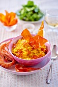 Saffron risotto with prawns and ham