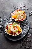 Scallop ceviche with orange, fennel and pomegranate seeds