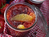 Orange and strawberry jam with orange liqueur