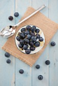 Blueberries in natural yoghurt with drizzled honey