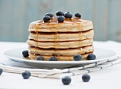 Pancakes, blueberries and honey