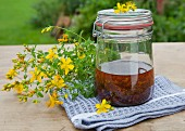 Homemade St. John's Wort oil in a glass jar
