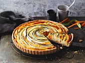 Carrot and courgette quiche with sourcream