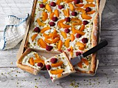 Summery apricot and raspberry pizza