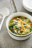 Italian minestrone with spinach and parmesan