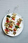 Vegetable BBQ skewers with herbs
