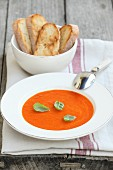 Tomato and red pepper soup with basil