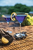 Citrus blue cocktail outdoors in Martini glasses with curled lemon rind garnish
