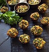 Broccoli Rabe Mini Muffins on a Cooling Rack