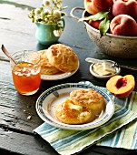 Southern Biscuits with peaches and butter