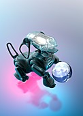 Robotic dog with ball, illustration