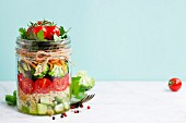 Healthy Homemade Mason Jar Salad with Quinoa and Vegetables