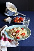 Spaghetti with roasted cherry tomatoes and parmesan