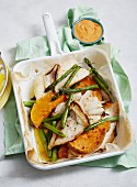 Low-Carb Baked Fish and Pumpkin with Capsicum Aioli