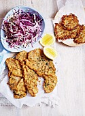 Moroccan Veal Schnitzel with Mixed Cabbage and Rosti