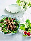 Lamb Skewers with Herbs and Rabish Tabbouleh